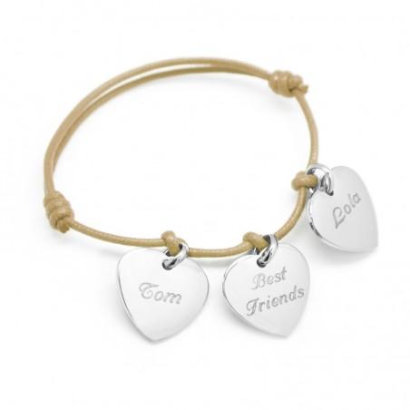 Bracelet personnalisé - Petits Coeurs Argent