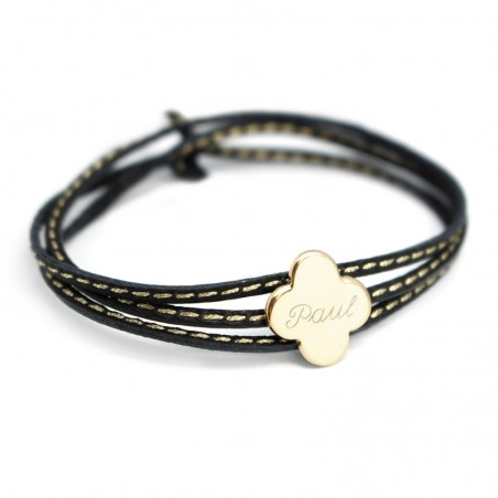 Bracelet personnalisé - Amazone Trèfle Plaqué or