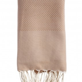 Fouta-nid'abeille-taupe-personnalisee