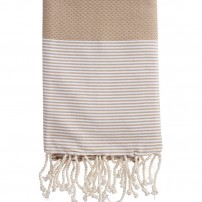 fouta-nid-d-abeille-rayee-personnalisee-beige