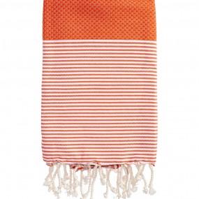 fouta-nid-d-abeille-rayee-personnalisee-orange