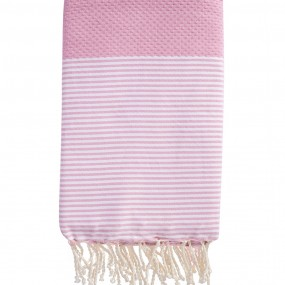 fouta-nid-d-abeille-rayee-personnalisee-rose