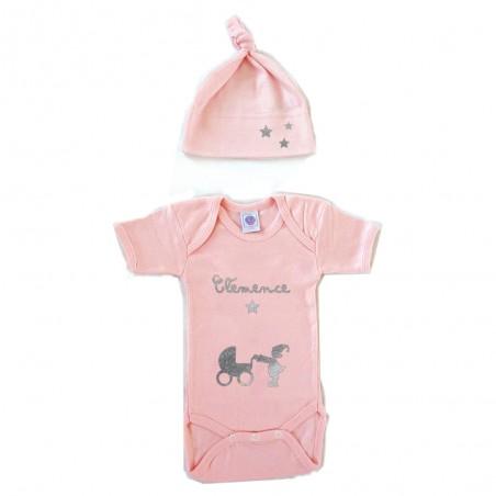 Duo body + bonnet bébé personnalisé