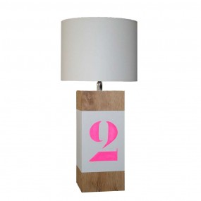 lampe-a-poser-chene-enfant-personnalisee-rose-fluo