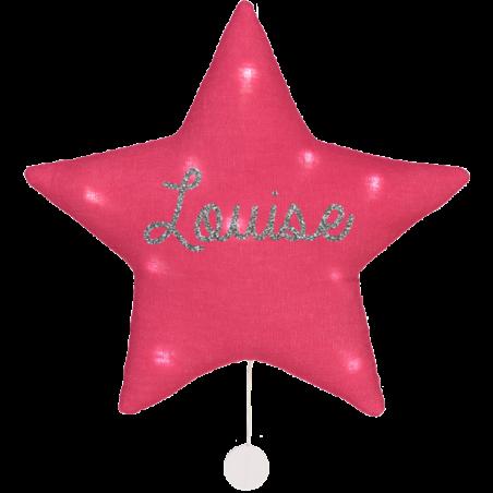 Veilleuse musicale étoile lin personnalisée