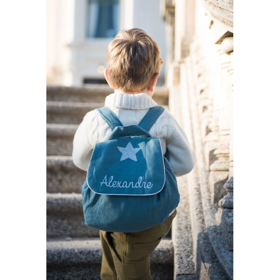sac-a-dos-enfant-lin-bleu-canard-prenom-personnalise