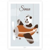 affiche-illustration-panda-vintage-personnalisee-prenon-cadeau-naissance-deco-chambre-enfant-personnalisable