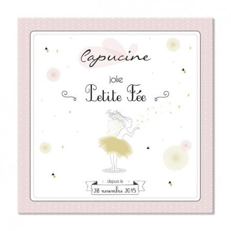 """Tableau naissance personnalisé - Modèle 30x30cm """"Petite fée"""""""