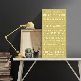 tableau-canvas-règles-de-la-maison-personnalisable-famille-maison-couleur-jaune-curry