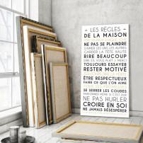 tableau-canvas-règles-de-la-maison-personnalisable-famille-maison-couleur-blanc