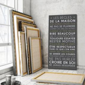 tableau-canvas-règles-de-la-maison-personnalisable-famille-maison-couleur-gris-carbone