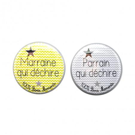 LOT MAGNETS PARRAINS/MARRAINES CHEVRON PERSONNALISABLES