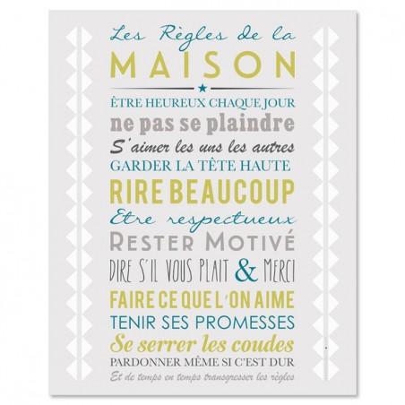 AFFICHE ADHESIVE REGLES DE LA MAISON GRIS CLAIR 60x40CM