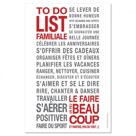 AFFICHE ADHESIVE TO DO LIST FAMILLE BLANCHE/GRIS/ROUGE 60x40CM
