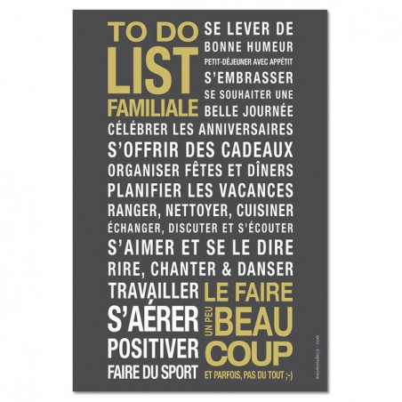 AFFICHE ADHESIVE TO DO LIST FAMILLE GRIS CARBONE/OR 45x30CM