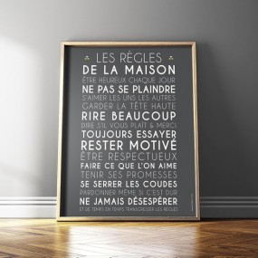 affiche-personnalise-regles-de-la-maison-gris carbone