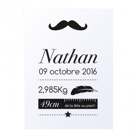 """Affiche naissance personnalisée - Modèle """"moustache"""""""
