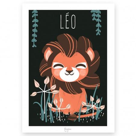 Affiche enfant personnalisé -  ANIMIGNONS LION