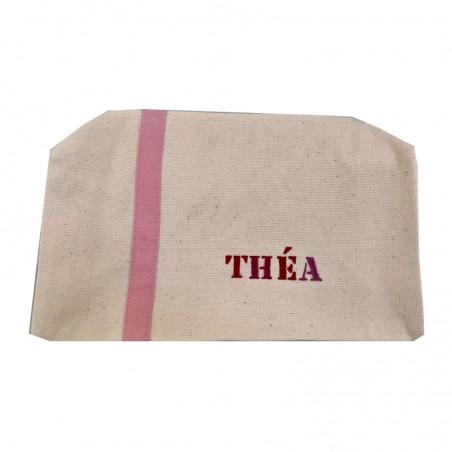 Trousse de toilette déjà personnalisée au prénom de THEA - Modèle toile de coton couleur grand format