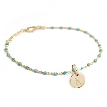 Bracelet personnalisé - Médaille sur Chaine Perles