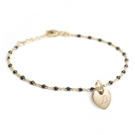 Bracelet personnalisé - Coeur sur Chaine Perles