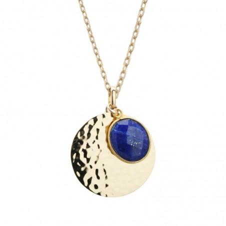 Collier personnalisé - Médaille martelée et pierre fine bleue - Plaqué or