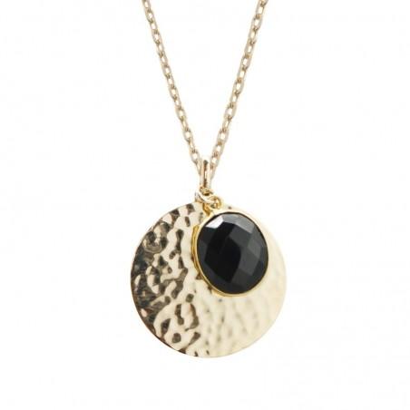 Collier personnalisé - Médaille martelée et pierre fine noire - Plaqué or