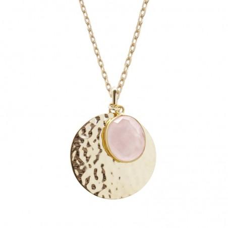 Collier personnalisé - Médaille martelée et pierre fine rose - Plaqué or