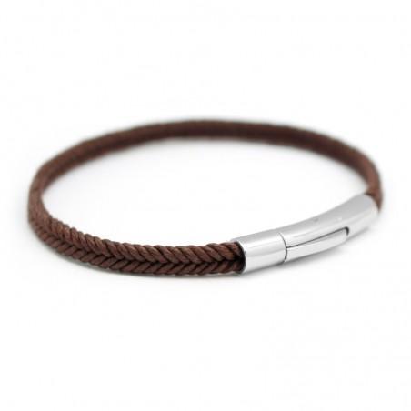 Bracelet personnalisé Homme - Le Tressé Marron
