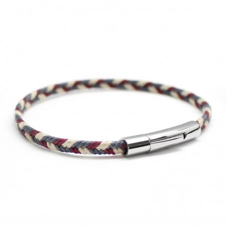 Bracelet personnalisé Homme - Le Tressé Bleu Blanc Rouge