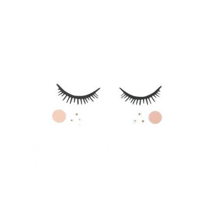 Stickers Big eyes Blush et Paillettes dorées