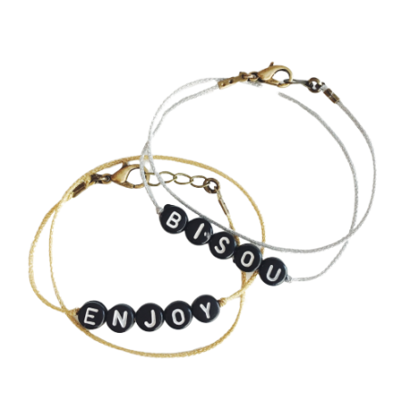 Bracelet perles-lettres personnalisé - Basic qui brille