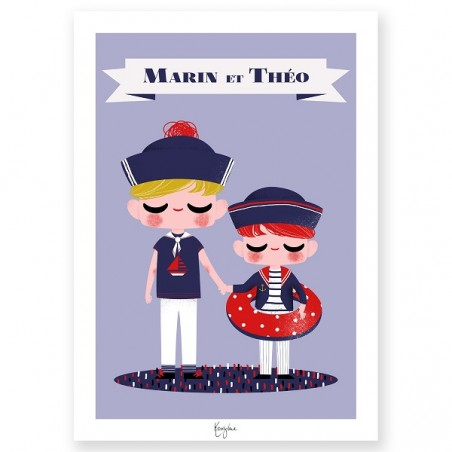 Affiche enfant personnalisée - Frères et Sœurs Sailor