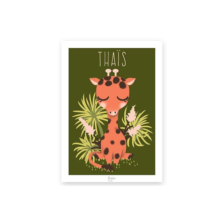 Affiche illustrée - déco thème savane - thème jungle - déco chambre enfant