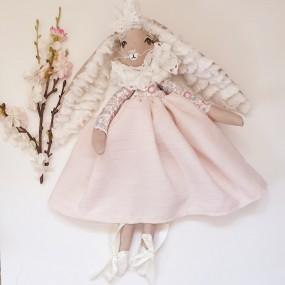 poupee robe rose - poupee coton
