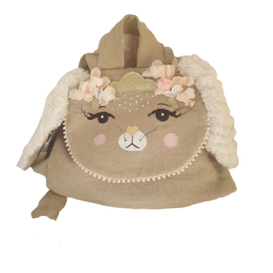 sac a dos lapin - sac maternelle fleuri