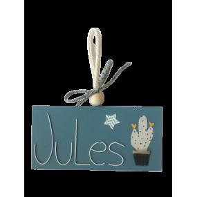 plaque de porte bois peint -  plaque porte cactus