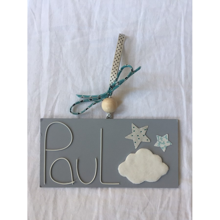plaque de porte bois rose - plaque de porte nuage