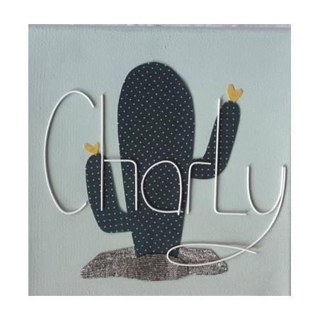 Tableau enfant personnalisé 20x20 - Modèle Cactus
