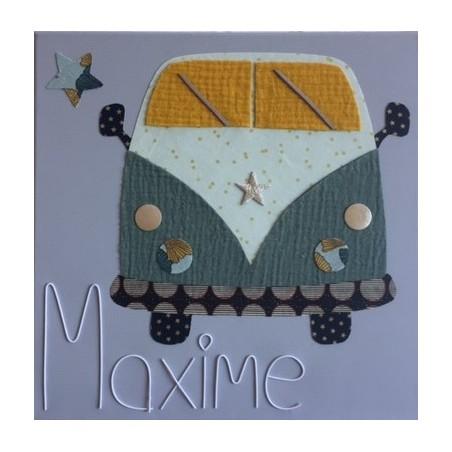 Tableau enfant personnalisé 30x30 - Modèle Bus