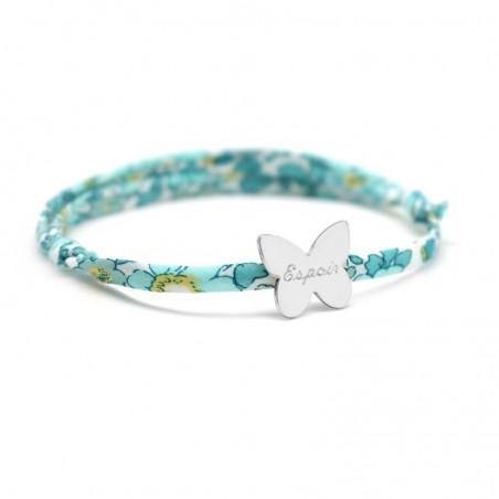 Bracelet personnalisé - Liberty papillon - Argent ou Plaqué or