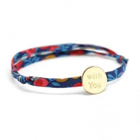 Bracelet personnalisé - Liberty médaille ronde - Argent ou Plaqué or
