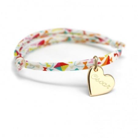 Bracelet personnalisé - Liberty coeur - Argent ou Plaqué or