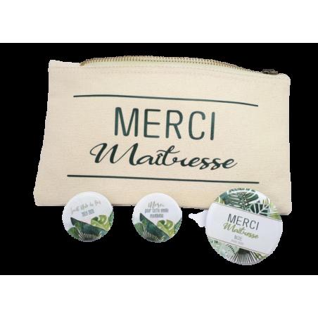 Lot Pochette + Magnet - Cadeau Maîtresse personnalisés