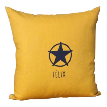 Coussin personnalisé - Modèle lin - Flex lemon + motifs