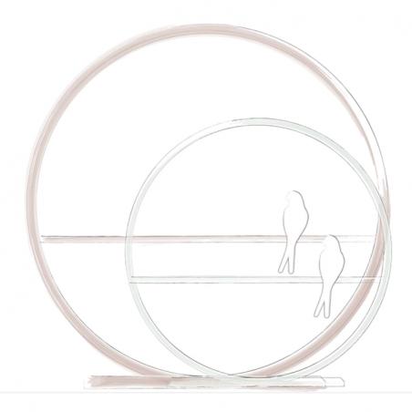 Lampe personnalisée - Cercle en bois peint avec texte & hirondelle en porcelaine