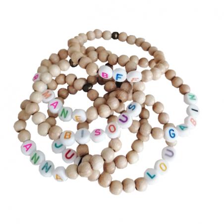 Bracelet perles-lettres - Modèle WOODEN