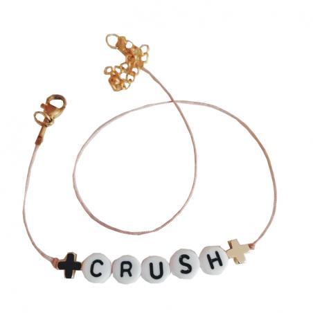 Bracelet perles-lettres personnalisé - Basic + 2 symboles doré à l'or fin