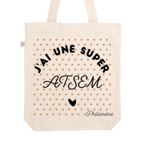 Tote bag personnalisé bio - Super ATSEM