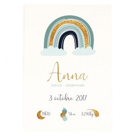 Affiche naissance personnalisée nuage/arc-en-ciel